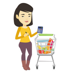 Female customer counting on calculator vector