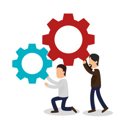 business people with gears training icon vector image vector image