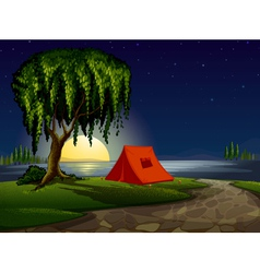 camping scene background vector image vector image