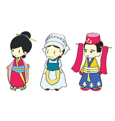 Cute girls in traditional clothing vector image vector image