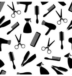 seamless background with barber equipment vector image