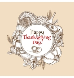 Thanksgiving sketch greeting card element vector image