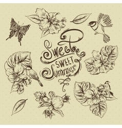 Vintage Monochrome Collection of Tropical Flowers vector image vector image