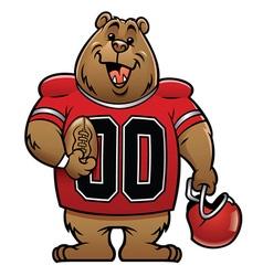 bear cartoon football mascot vector image vector image