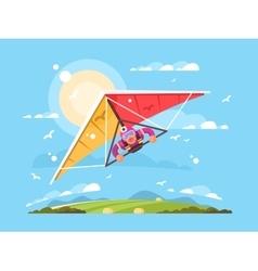 Man on a hang glider vector image