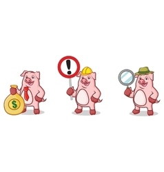 Pink Pig Mascot with money vector image vector image