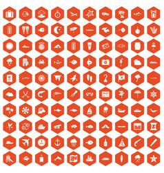 100 marine environment icons hexagon orange vector