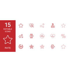 15 rate icons vector image