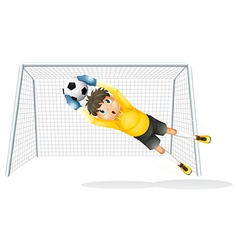 A boy practicing to catch soccer ball vector