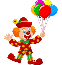 adorable clown holding colorful balloon isolated o vector image