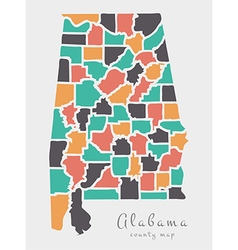 Alabama county map abstract round shapes vector
