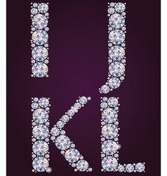 Alphabet of diamonds IJKL vector