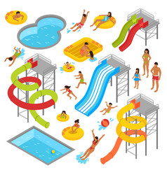 Aqua park isometric icons set vector