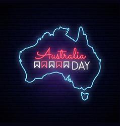 australia day neon map neon sign on brick wall vector image