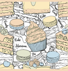 bakery products seamless pattern in sketch style vector image