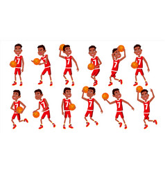 Basketball player child set in action vector