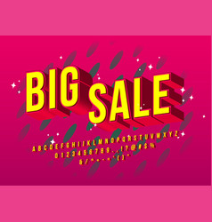 big sale alphabet yellow elegant font design vector image