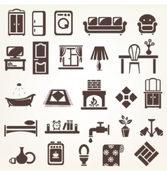 big set furniture and home related silhouettes vector image