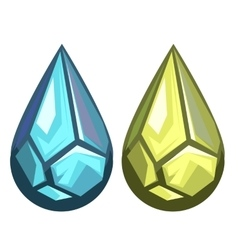 Blue and yellow precious gems in form drops vector
