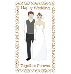 bride and groom wedding golden frame vector image