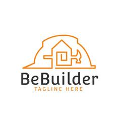 Builder hat hammer home building construction vector