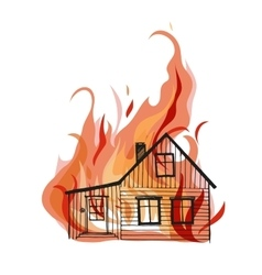 Burning house isolated on white bacground vector