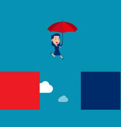 business person jump escape concept flat vector image