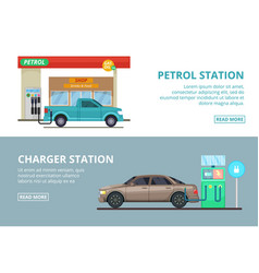 Car charging electricity and petrol gas station vector