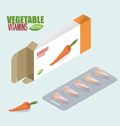 Carrots pills in pack Vegetarian vitamins Tablets vector image
