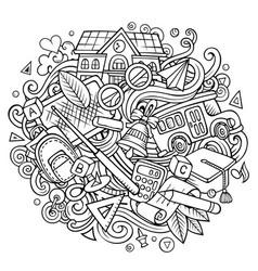cartoon cute doodles back to school vector image