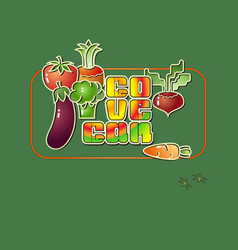 cartoon style vegetables icons and the inscription vector image