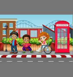 Children in the urban city vector