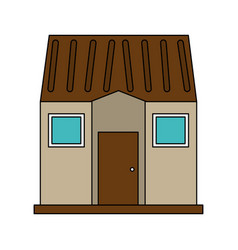 Color image facade comfortable house vector