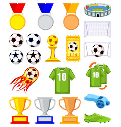 colorful cartoon soccer 20 elements set vector image