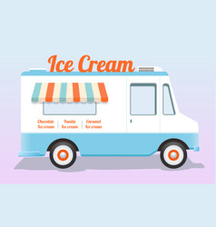 Colorful ice cream truck vector