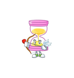 Cupid cartoon sandglass with character mascot vector
