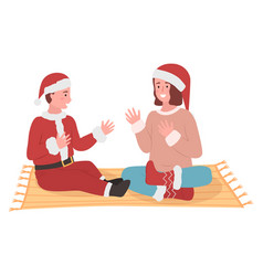cute children characters with christmas dress vector image