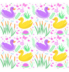 cute duck seamless pattern with reeds water lily vector image