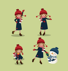 cute girl in winter custom with christmas vector image