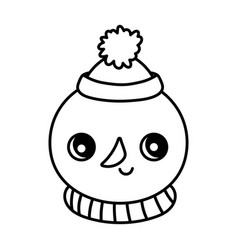 cute snowman with hat and scarf happy christmas vector image