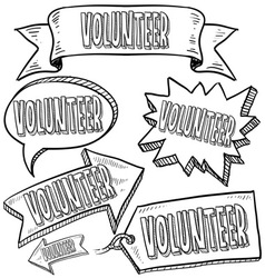 doodle label tag banner volunteer vector image vector image