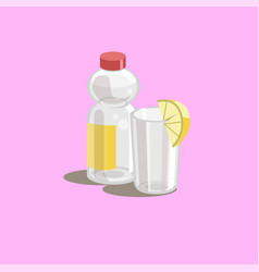 drink icon bottle and glass vector image