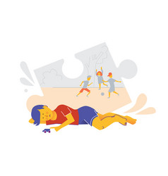 Early sign of autism child play alone vector