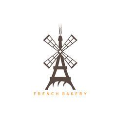 Eiffel tower with bread and mill design template vector