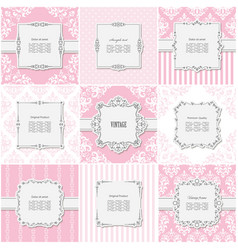 elegant frame set on different patterns in pastel vector image