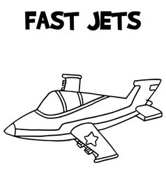 Fast jets with hand draw vector