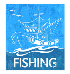 Fishing boat on the waves banner vector