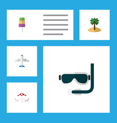 Flat icon beach set of coconut recliner sundae vector