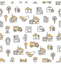 Flat line art house property seamless vector