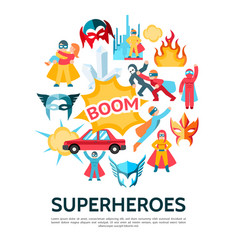 flat superheroes round concept vector image